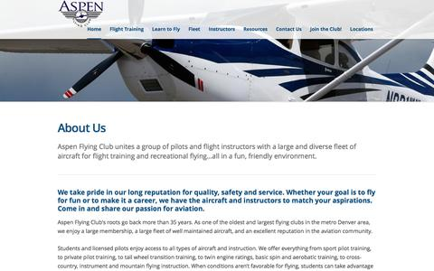 Screenshot of About Page aspenflyingclub.com - Pilots renting and flying a large and diverse fleet of aircraftAspen Flying Club - captured July 26, 2016