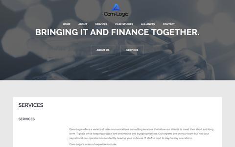 Screenshot of Services Page com-logic.com - SERVICES – Com-Logic | Bringing IT and Finance Together. - captured Nov. 10, 2016
