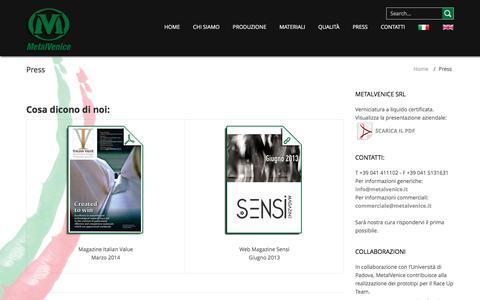 Screenshot of Press Page metalvenice.it - Press | MetalVenice verniciatura a liquido fibra carbonio e fibre composite - captured Feb. 3, 2016