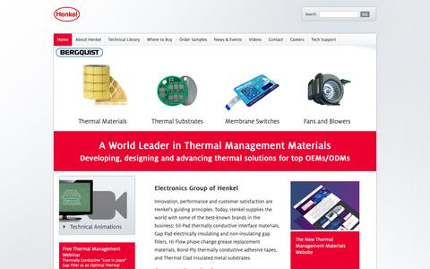 Screenshot of Home Page bergquistcompany.com - Thermal Interface Material, Thermal Management ~ Henkel Electronics - captured Oct. 18, 2018