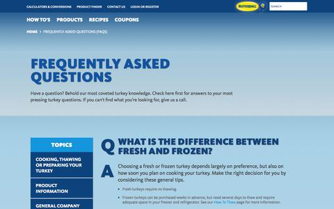 Screenshot of FAQ Page butterball.com - Frequently Asked Questions (FAQs) | Butterball® - captured Nov. 1, 2014