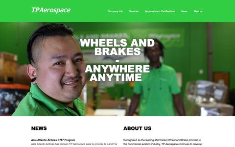 Screenshot of Home Page tpaerospace.com - Homepage - captured Aug. 15, 2016