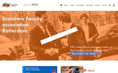 Screenshot of Home Page efr.nl - Home - Economic Faculty association Rotterdam - captured July 14, 2018