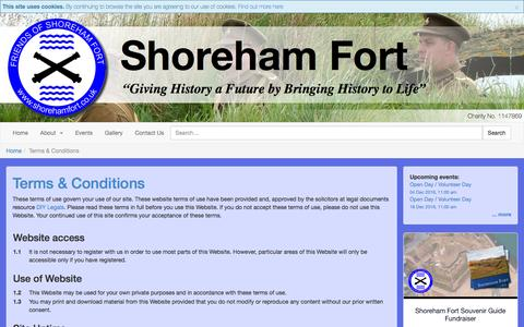 Screenshot of Terms Page shorehamfort.co.uk - Terms & Conditions - Shoreham Fort - captured Nov. 29, 2016