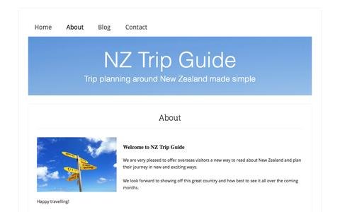 Screenshot of About Page nztripguide.com - NZ Trip Guide - About - captured Sept. 30, 2014