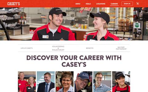 Screenshot of Jobs Page caseys.com - Careers at Casey's | Casey's General Store - captured May 1, 2019