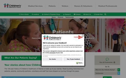 Screenshot of Testimonials Page choa.org - Testimonials | Children's Healthcare of Atlanta - captured Oct. 7, 2016