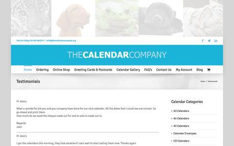 Screenshot of Testimonials Page thecalendarcompany.org - Calendar Printing Testimonials page - captured Feb. 25, 2016
