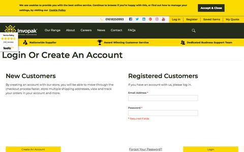 Screenshot of Login Page invopak.co.uk - Customer Login - captured July 27, 2018