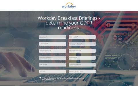 Screenshot of Landing Page workday.com - GDPR Roadshow - captured March 27, 2018