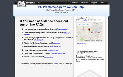Screenshot of Contact Page Support Page performersoft.com - Contact us   PerformerSoft - captured Oct. 22, 2014