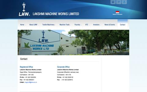 Screenshot of Contact Page lakshmimach.com - Contact | LAKSHMI MACHINE WORKS LIMITEDLAKSHMI MACHINE WORKS LIMITED - captured Oct. 22, 2014