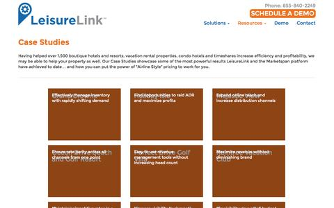Screenshot of Case Studies Page leisurelink.com - Case Studies - LeisureLink - captured Oct. 28, 2014