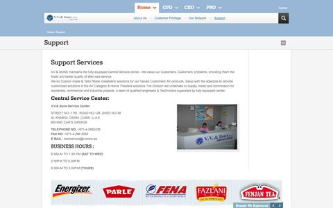 Screenshot of Support Page vvsons.com - VV & Sons | Contact Us - Energizer, Parle, VIP, Denon, in Dubai, UAE - captured Oct. 7, 2014