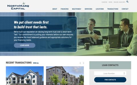 Screenshot of Home Page northmarq.com - NorthMarq Capital | Commercial real estate debt, equity and loan servicing across the United States - captured Jan. 17, 2019
