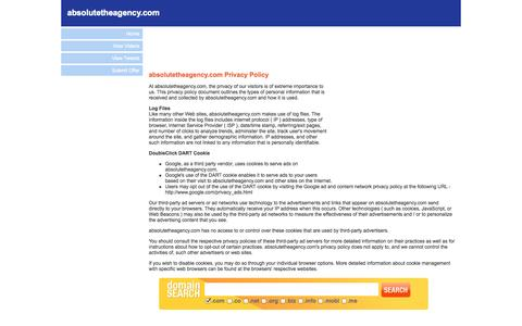 Screenshot of Privacy Page absolutetheagency.com - Welcome to absolutetheagency.com - Privacy Policy - captured Oct. 29, 2014