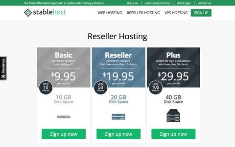 Reseller Hosting | StableHost