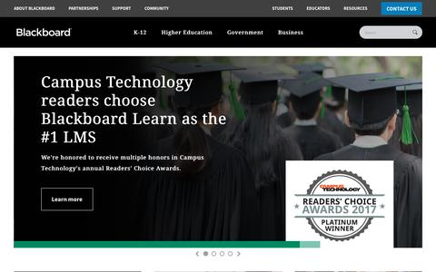Screenshot of Home Page blackboard.com - Blackboard | Education Technology & Services - captured Nov. 7, 2017