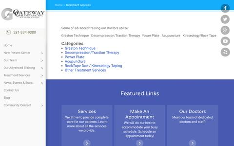 Screenshot of Services Page gatewaychiropractic.com - Gateway Chiropractic South Shore PLLC - Chiropractor In League City; TX; USA :: Treatment Services - captured Jan. 26, 2016