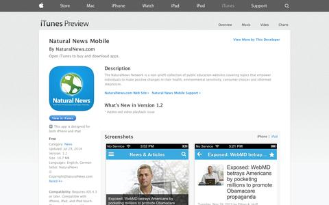 Screenshot of iOS App Page apple.com - Natural News Mobile on the App Store on iTunes - captured Oct. 23, 2014