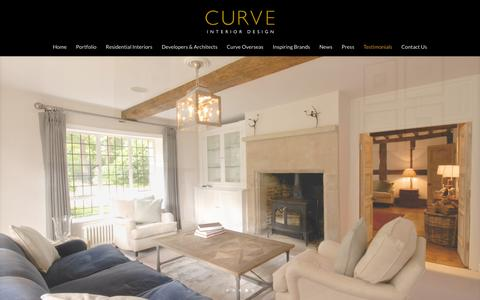 Screenshot of Testimonials Page curveinteriordesign.co.uk - Curve Interior Design / Manchester and Cheshire interior designers / Modern high-end residential interiors - captured Feb. 1, 2016