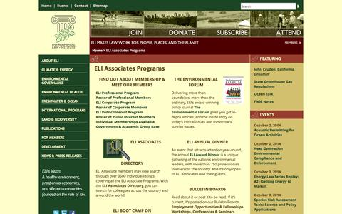 Screenshot of Signup Page eli.org - ELI Associates Programs | Environmental Law Institute - captured Oct. 2, 2014