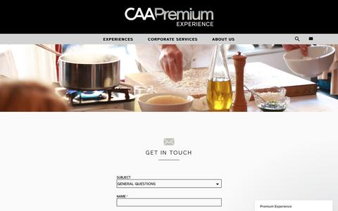 Screenshot of Contact Page caa.com - Premium Experience says... - captured May 1, 2017