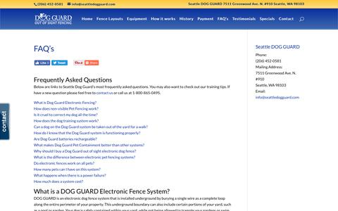 Screenshot of FAQ Page seattledogguard.com - Wireless Dog Fence   Pet Containment Fencing   Dog Guard Fences   Seattle Dog Guard   Underground Dog Fencing    Seattle DOG GUARD - captured Sept. 20, 2018