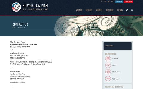 Screenshot of Contact Page murthy.com - Contact Us - Murthy Law Firm | U.S Immigration Law - captured March 14, 2017