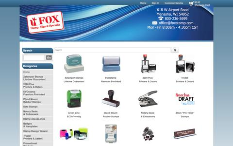 Screenshot of Home Page foxstamp.com - Fox Custom Stamps: Address Stamps: Signature Stamps: Date Stamps: Notary Stamps: Embossers - captured Oct. 14, 2017