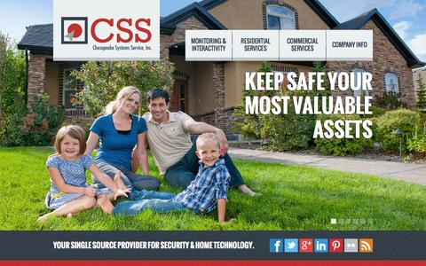 Screenshot of Home Page marylandsecurityalarms.com - Maryland Security Alarms by Chesapeake Systems Service, Inc. - captured Oct. 2, 2014