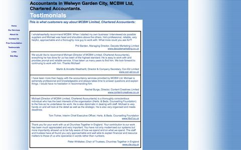 Screenshot of Testimonials Page mcbw.co.uk - Testimonials, MCBW Limited, Accountants Welwyn Garden City - captured Oct. 3, 2014