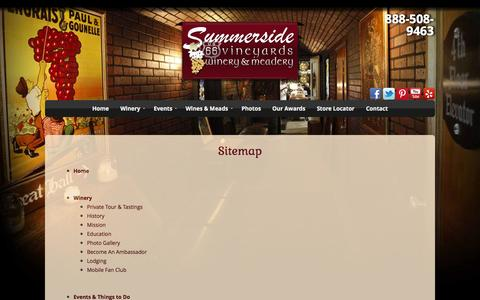 Screenshot of Site Map Page summersidevineyards.com - Sitemap | Summerside Vineyards - captured Oct. 6, 2014