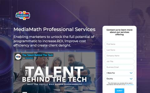 Screenshot of Landing Page mediamath.com - MediaMath's Talent Behind the Tech - captured Nov. 18, 2019