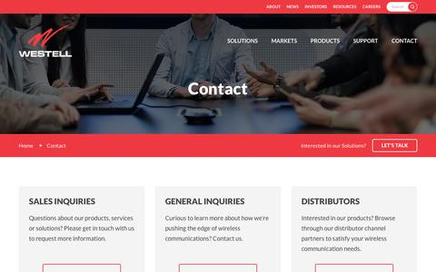 Screenshot of Contact Page westell.com - Contact :: Westell Technologies, Inc. (WSTL) - captured Sept. 20, 2018