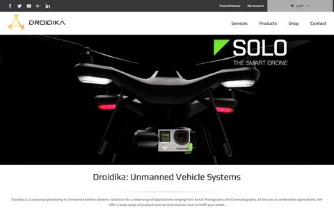Screenshot of Home Page droidika.com - Droidika – Unmanned Vehicle Systems - captured Oct. 13, 2017