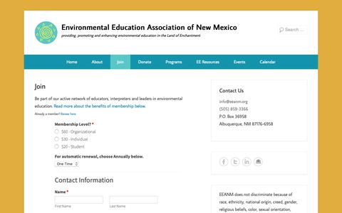 Screenshot of Signup Page eeanm.org - Join - Environmental Education Association of New Mexico - captured Sept. 28, 2018