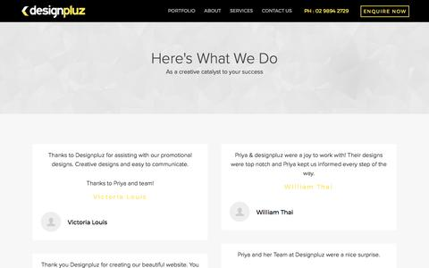 Screenshot of Testimonials Page designpluz.com.au - Testimonials - captured Oct. 18, 2017