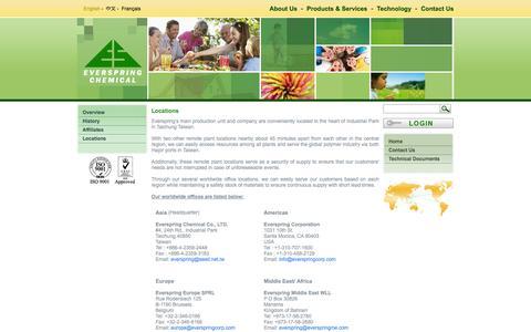 Screenshot of Locations Page everspringchem.com - Locations - captured Oct. 3, 2014