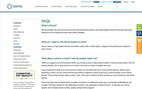 Screenshot of FAQ Page ooma.com - Ooma FAQs | Learn more about Ooma - captured July 12, 2018