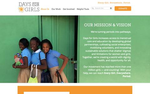 Screenshot of About Page daysforgirls.org - Days for Girls | What We Do - captured Oct. 8, 2018