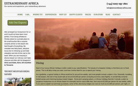 Screenshot of Pricing Page extraordinary-africa.com - Pricing | EXTRAORDINARY AFRICA - captured July 17, 2016