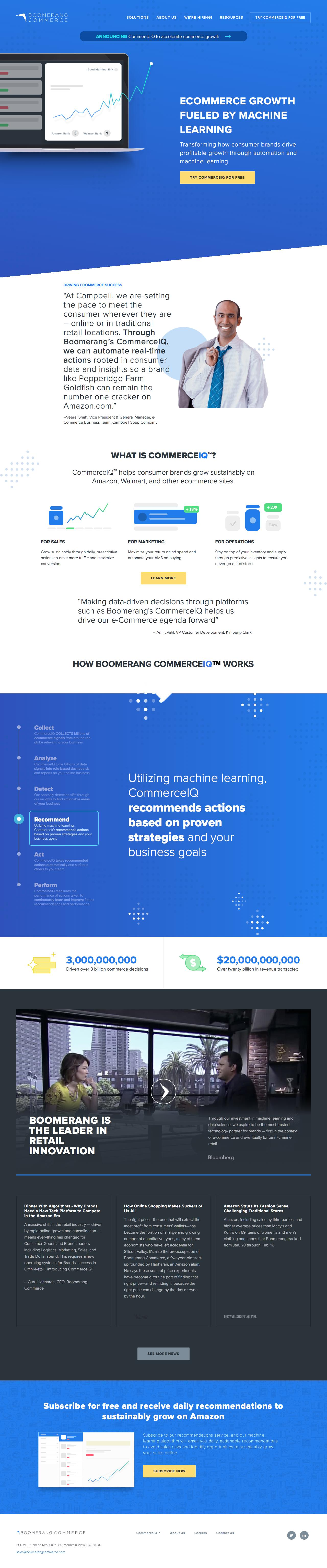 Screenshot of boomerangcommerce.com - ECOMMERCE GROWTH FUELED BY MACHINE LEARNING — Boomerang Commerce - captured March 18, 2018