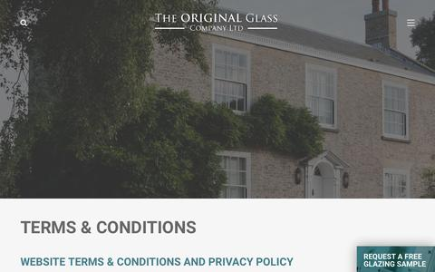 Screenshot of Terms Page thinsealedunits.co.uk - Terms & Conditions » The Original Glass Co. - captured Oct. 18, 2018