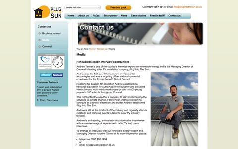 Screenshot of Press Page plugintothesun.co.uk - Media opportunities - interview our renewable energy expert - captured Sept. 30, 2014