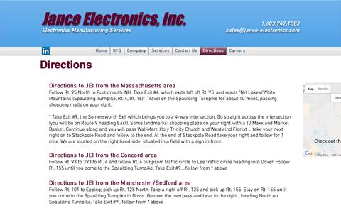 Screenshot of Maps & Directions Page janco-electronics.com - Janco Electronics, Inc | Electronics Manufacturing Services | Directions - captured Oct. 2, 2018
