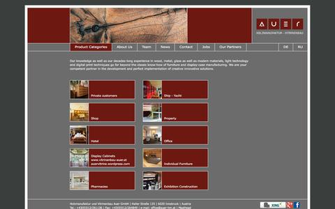 Screenshot of Home Page auer-hm.at - Auer carpentry - joinery, project management - captured Jan. 31, 2016