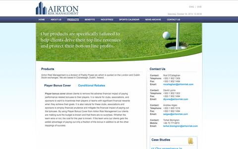 Screenshot of Products Page airtonrisk.com - Airton Risk Management - Products - captured Oct. 4, 2014