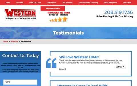 Screenshot of Testimonials Page westernhvac.com - Testimonials | Heating & Air Conditioning in Boise - captured Oct. 20, 2017