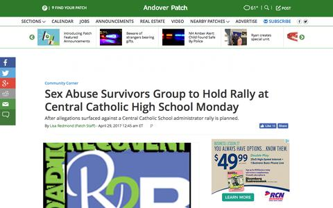 Screenshot of patch.com - Sex Abuse Survivors Group to Hold Rally at Central Catholic High School Monday - Andover, MA Patch - captured April 29, 2017